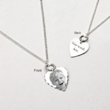 Photo Heart Memorial Necklace with Engraving